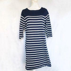 LL Bean // Navy, White Striped Cotton Shirtdress L